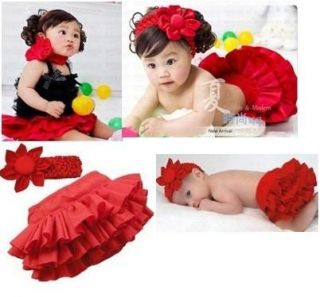 2 Pcs Kids Baby Girls Ruffle Skirt Pants Headband Bloomers Nappy Costume 0 24M