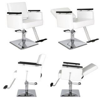 4X New Salon Reclining White Hydraulic Styling Chair Equipment Package MP 91R W