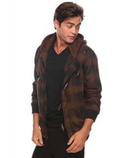 Mens Hooded Jacket L Check Jumper Cardigan Knit Plaid Stylish Casual Coat Short