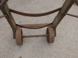 Antique Wood Iron Barrel Dolly Hand Truck Cart Railroad Industrial Farm Tool