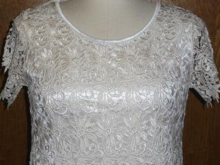 Ivory Floral Lace Short Slv Sheath Party Cocktail Semi Formal Dress Size Medium