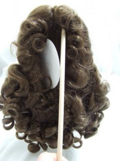 "Sz 11 12"" Long Curls White Bow Light Brown Doll Wig Baby Reborn BJD OOAK Molly"