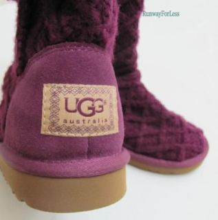 New UGG Australia Kids Girls Size 2 K Lattice Cardy Crochet Plum Purple Boots
