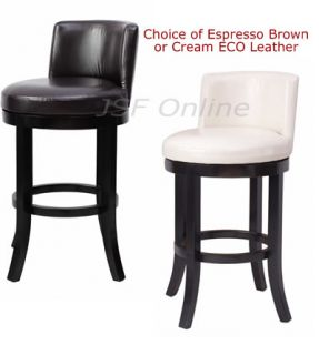 Eco Leather 30H Swivel Breakfast Counter Bar Stool Bistro Pub Table Chair w Back