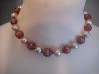Vintage Venetian Glass Wedding Cake Bead Faux Pearl Choker Red