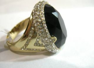 Gorgeous Black Onyx w Clear CZ's in Gold Plated Women's Ring Large Size 12