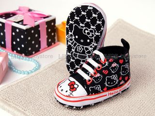 New Toddler Baby Girl Kitty Cat Black Tennis Shoes UK Size 3 A942