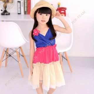 Cut Girls Kids Strap Beach Skirt Dance Dress 6 7Y Costume Colorful TYC9 3