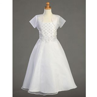 Lito Girls White Beaded First Communion Dress Bolero 12