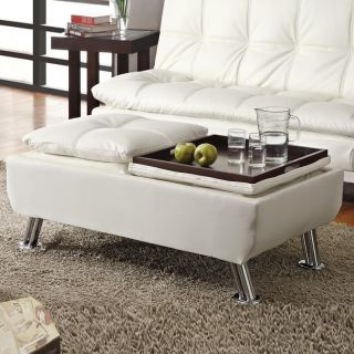 Modern White Faux Leather Pillow Top Seating Storage Ottoman Accent Tray Table