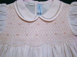Hand Embroidered Baby Girls Smocked White Pink Dress w Fagoting 3M 6M 9M NWT'S