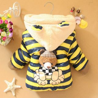 Boys Girls Kids Winter Jackets Clothing Baby 3D Bear Hoodie Coat Outerwear 1 3Y