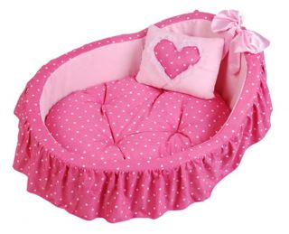 Princess Pet Dog Cat Bed House Basket Pink Pillow