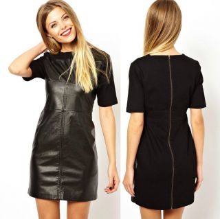 Womens European Fashion Crewneck PU Leather Back Zipper Mini Dress B4062MS
