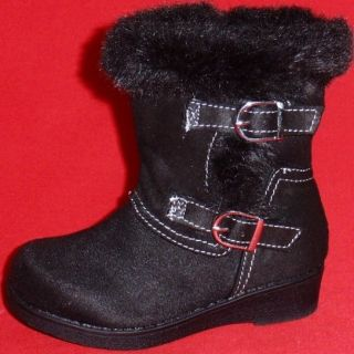 New Girl's Toddler's Black KK Paige Buckles Faux Fur Fashion Tall Boots Shoes