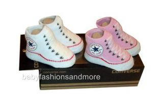 Free US Shipping 2 Baby Girls Converse All Star Shoes Styled Booties 0 6 mos New