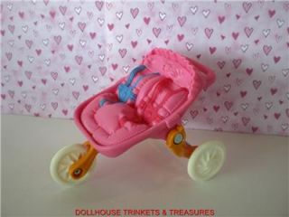 Fisher Price Loving Family Dollhouse Twin Babys Nursery Fold Up Stroller