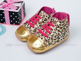 New Toddler Baby Girl Leopard Hard Sole Shoes US Size 3 4 5 A1064