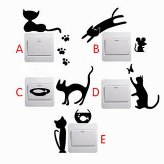 5 Pcs Creative Switch Stickers Naughty Cat Series Bedroom Parlor Wall Stickers