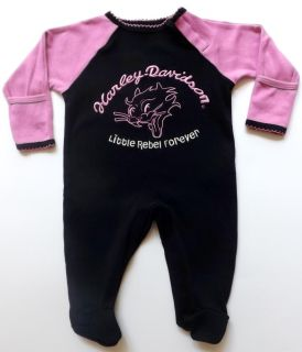 Harley Davidson Infant Baby Kids Girls Apparel One Piece Footed Coverall