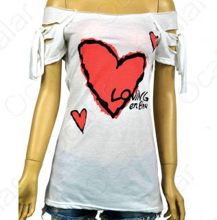 Korean Women Sexy Girls Off Shoulder Red Heart Long Slim Shirt Top T Shirts Hot
