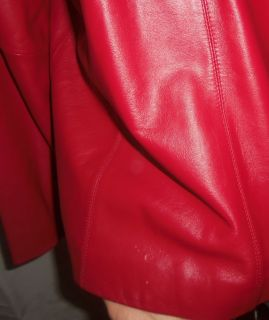 Ladies Worthington Red Lambskin Leather Jacket Coat LG Zip Front