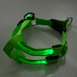 Dog Pet Belt Harness Night Safety Collar 3 Size Glow LED Flashing Light 5 Color