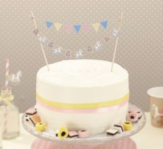 Rock A Bye Babies Christening Baby Shower Cake Bunting Topper Decoration