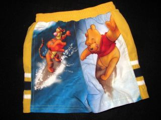 Disney Board Shorts Swim Trunks Tigger Pooh Liner New Infant Toddler Boys 24M