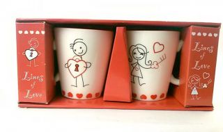Lines of Love Key to My Heart His and Hers Ceramic Mugs Valentines Day Gift Idea