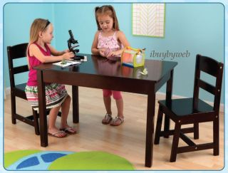 KidKraft 26680 Childrens Kids Wooden Rectangle Table 2 Chair Set Espresso New