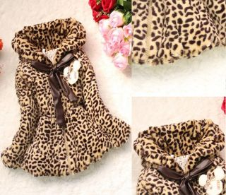 Baby Girl Faux Fur Leopard Coat Child Kid Winter Outwear Clothes Jacket Snowsuit