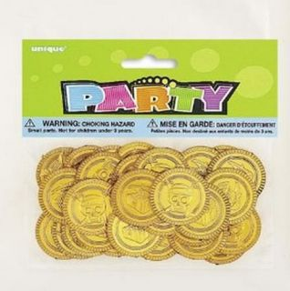 Pirate Fun Buried Treasure Plastic Gold Coins Kid's Birthday Party Favors Ideas