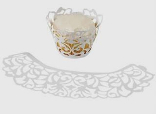72 White or Black Damask Scroll Cupcake Wrappers Collars Liners Wedding Favors