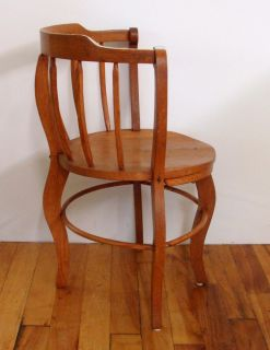 Antique Oak Spindle Back Barrel Chair with Arms