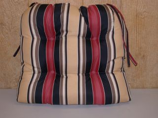 1 Outdoor Wicker Chair Cushion Black Red Stripe REDUCED New