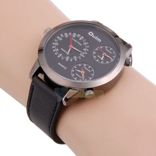Russia Mens Military Army 3 Times Round Leather Sports Quartz Wrist Watch Black