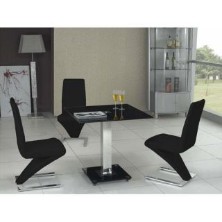 Square Black Glass Chrome Dining Table and Z 4 Chairs