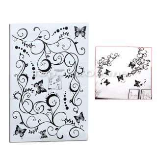 Black Removable Butterfly Feifei Flower Tree Home Mural Art Decal Wall Sticker