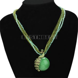Newest Fashion Jewelry Millet Chain Crystal Lucky Peacock Pendant Necklace Gifts