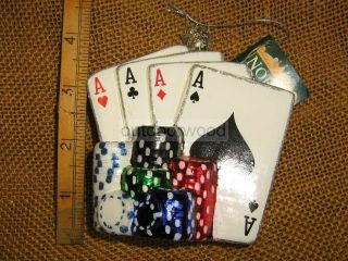 Kurt Adler Noble Gems Blown Glass Cards Poker Chips Gambling Ornament New