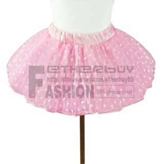 Girls Kids Pink Heart Tutu Skirt Pettiskirt Ballet Dance Dress 2 7 Years Costume