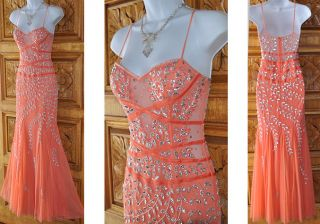 David's Bridal Coral Beaded Formal Gown Dress Sz XS Prom Pageant Occasion