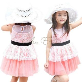 Fashion Girl Kids Lace Tulle Party Elegant Belt Dress Skirt Clothing Sz 2 7 Y