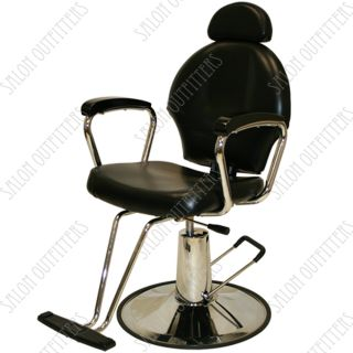 All Purpose Hydraulic Reclining Barber Chair Black Wood Shampoo Salon Equipment