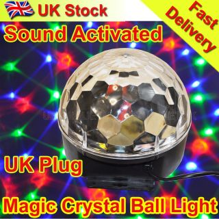 Magic Crystal Ball LED Light DJ Disco Party Lighting Voice Clap Activated UK