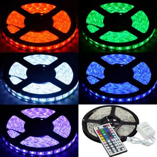 Waterproof 5M 16ft RGB 5050 SMD LED Strip Light 300 LEDs IR Controller 44Key