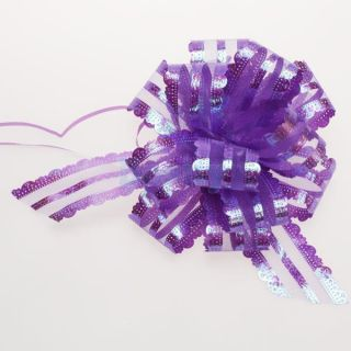 Pull Bow Flower Ribbon Gift Wrap Wedding Car Door Party Christmas Decor Purple