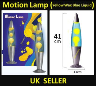 Retro Motion Lamp Light Lava Funky Astro Relaxation Yellow Wax Blue Liquid Glass