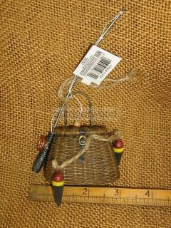 Fishing Creel Basket w Bobbers Fly Rod Reel Ornament by Kurt Adler